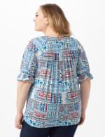Patchwork Peasant Knit Top - Plus - Blue - Back