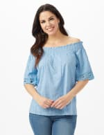 Eyelet Woven Peasant Top - Light Blue - Front