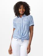 Dressbarn Lurex Stripe 1 Pocket Shirt - Misses - Blue - Front