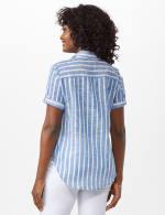 Dressbarn Lurex Stripe 1 Pocket Shirt - Misses - Blue - Back