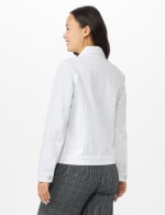 Jean Jacket with 2 Chest Pockets , Button Front, Side Seams - White - Back