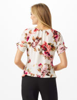 Floral Pleat Neck Bubble Hem - Misses - Beige - Back