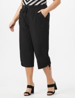 Active Capri Pull On Pants with Ruched Hem - Ebony Black - Front