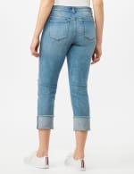 Authentic Stretch Straight Leg Denim Pants with High Fray Cuff - Robin Wash Blue - Back