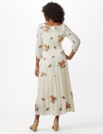 Embroidered Textured Peasant Dress - Ivory - Back