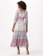 Chiffon Mixed Print Peasant Dress - Lavender/Blue - Back