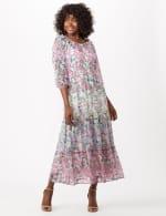 Chiffon Mixed Print Peasant Dress - Lavender/Blue - Front