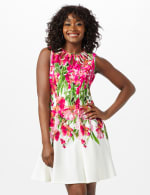 Sleeveless Floral Fit and Flare Dress - Ivory /Pink - Front