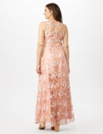 Floral Embroidered A-Line Gown - Peach/Ivory - Back