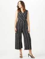Sleeveless Stripe Mock Wrap Side Tie Crop Jumpsuit - Black - Front