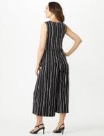 Sleeveless Stripe Mock Wrap Side Tie Crop Jumpsuit - Black - Back