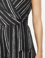 Sleeveless Stripe Mock Wrap Side Tie Crop Jumpsuit - Black - Detail