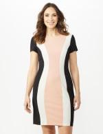 Short Sleeve Scuba Dress - Cameo/Ivory/Black - Front