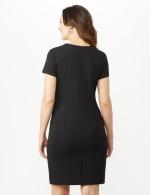 Short Sleeve Scuba Dress - Cameo/Ivory/Black - Back