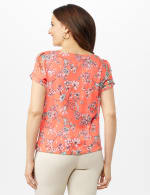 Chain Trim Floral Bubble Hem Top - Petite - Coral - Back