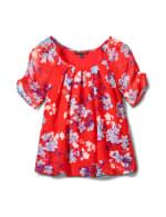 Blue Floral Pleat Neck Bubble Hem-Petite - Red - Front