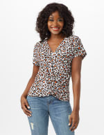 Animal Knot Front Knit Top - White/Brown - Front