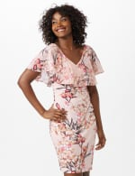 Chiffon Ruffle Neck Shirred Waist Blossom Floral Dress - Peach - Front