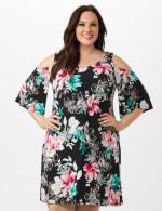 Cold Shoulder Elbow Sleeve Etched Floral Dress - Black - Front