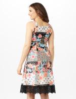 Floral Stripe Scuba Dress with Lace Hem - Black/Multi - Back