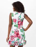 V-Neck Large Floral Sheath Dress with Ruffle Hem - Ivory Multi - Back