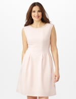 Textures Knit Dress with Embellished Neck - Peach - Front