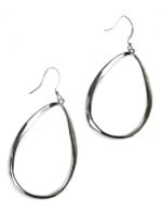Casted Teardrop Earring on Fish Hook - Silver Plating - Back