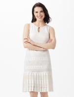 Sleeveless Key Hole Neck Pleated Hem Lace Dress - Ivory - Front