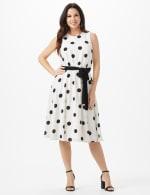 Round Neck Large Dot With Soft Belt Dress - White/Black - Front
