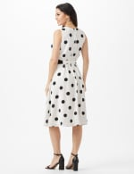 Round Neck Large Dot With Soft Belt Dress - White/Black - Back