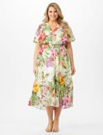 V-neck Chiffon Jacquard Botanical Floral Dress - Plus - Ivory/Rose - Front