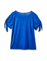"""""""Believe In Yourself"""" Cold Shoulder Tee - Plus - Blue - Back"""