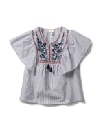 Embroidered Angel Sleeve Stripe Woven Top - Navy - Front