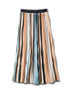 Stripe Pleated Skirt With Contrast Elastic Waistband - Multi - Front