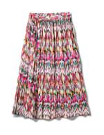 Long Crinkle Pleated Skirt - Multi - Front
