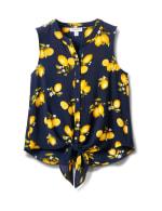 Sleevless Lemon Tie Front Blouse-Petite - Navy - Front