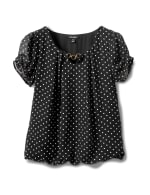 Dot Bubble Hem Woven Blouse-Petite - Black - Front