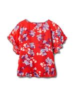 Floral Cold Shoulder Bubble Hem Top - Misses - Red - Back