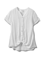 Pintuck Texture Button Front Shirt - White - Front