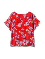 Floral Cold Shoulder Bubble Hem Top - Plus - Red - Back