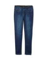 Mid Rise Skinny Pull On Jean Pants - Front And Back Pockets - Dark Stone Wash - Front
