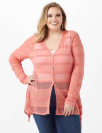 Button Front Sharkbite Cardigan - Plus - Pink Guava - Front
