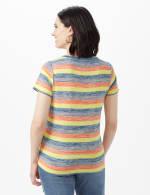 Bright Tie Front Stripe Knit Top - Multi - Back