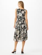 Sleeveless V-Neck Floral Flounce Detail Dress - Black - Back