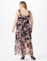 Rushed Empire Detail Floral Maxi Dress - Dusty Rose - Back