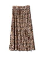 Elastic Waist Plisse Pleated Pull On Skirt - Cream/Black - Back