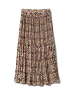 Elastic Waist Plisse Pleated Pull On Skirt - Cream/Black - Front