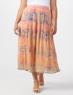 Pull On Crinkle Skirt - Plus - Indigo/ Coral - Front
