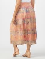 Pull On Crinkle Skirt - Plus - Indigo/ Coral - Back