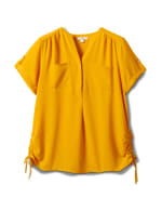 2 Pocket Side Tie  Woven Top - Gold - Front